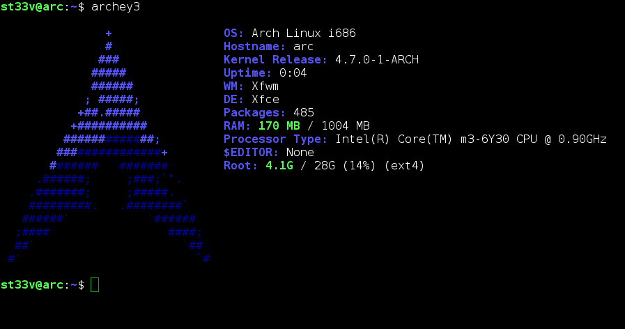 Screenshot of 'arc', my Arch Linux guest, showing a popular terminal display script that shows a range of settings and hardware values.